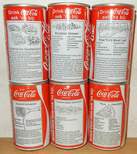 1983-1984-COCA-COLA-6-cans-RECIPE-set-from-HOLLAND-33cl