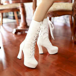 Women-Winter-High-Heels-Lace-up-Platform-Party-Mid-Calf-Boots-Shoes-Size-34-43