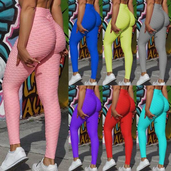 Damen Anti Cellulite PUSH UP Yoga Leggings Hohe Taille Jogginghose Sport Hose ML