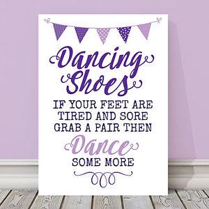 10d572e8a Purple   Lilac Dancing Shoes Wedding Flip Flop Basket Table Sign 3 ...