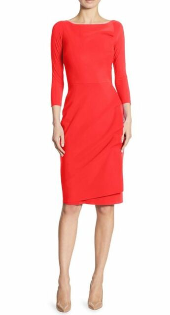d2305860efec NWT Chiara Boni La Petite Robe Rhea Wrap-Effect Sheath Dress Red 14  695