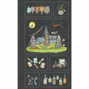 "Halloween Salem Witch Quilt Show Cotton Fabric Maywood Studio 8349-J 24/"" Panel"