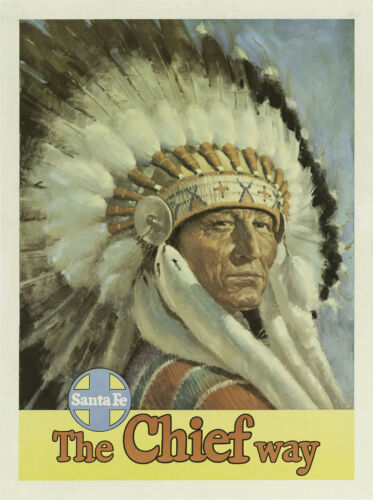 """SANTA FE../""""The Chief Way/"""" . Vintage Travel//Promotional Poster  A1A2A3A4Sizes"""