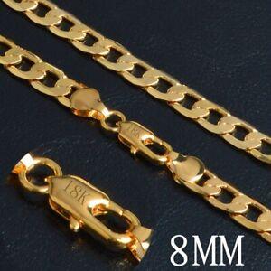 18k-dicke-Goldkette-Panzerkette-vergoldet-50cm-lang-8MM-Damen-Herren-Kette