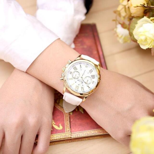 Fashion Women's Geneva Watch Stainless Steel Leather Analog Quartz Wrist Watches