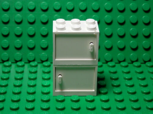 LEGO LEGOS  2 NEW WHITE  Container, Cupboard w/ WHITE Door 2x3x2