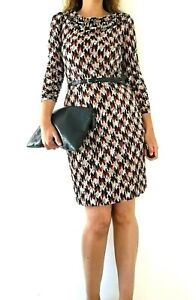 Ghost-Dress-Wiggle-Pencil-Abstract-Print-Shift-Sleeves-Red-Work-Smart-Size-14