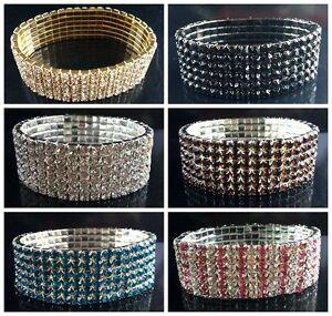 new-6Rows-Silver-gold-Crystal-Stretch-Bridal-Rhinestone-Elastic-Bracelet-Bangle