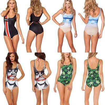 Sexy Galaxy Space Print Digital Pattern Swimwear One-Piece Beach Swimsuit Bikini