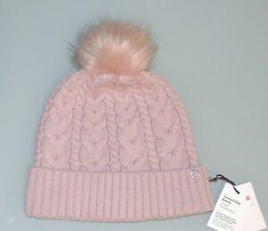 eb205c9d211 Lululemon TWISTED BLISS BEANIE Knit Hat Faux Fur Pom Pom Mink Berry ...