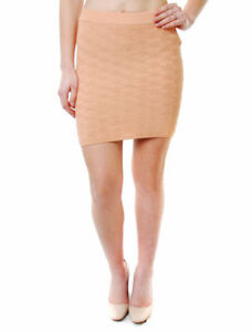For-Love-amp-Lemons-Women-039-s-New-CAMILLA-Knitted-Mini-Skirt-Elastic-Peach-BCF64