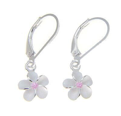 11 mm 14K Solide Rose Or Rose Fantaisie Hawaïen Plumeria Fleur Boucles d/'oreilles leverback