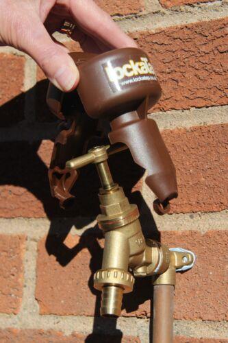 Lock a Tap Brown plastic pvc Lockatap stop unauthorised outside garden water use