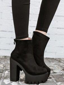 botas cordones plataforma talón cuña 13 cm negro como piel 9244