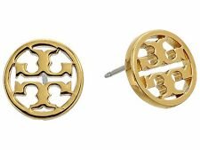 AUTHENTIC New Tory Burch Gold Circle Logo Stud Earrings & Dust Cover with Charm