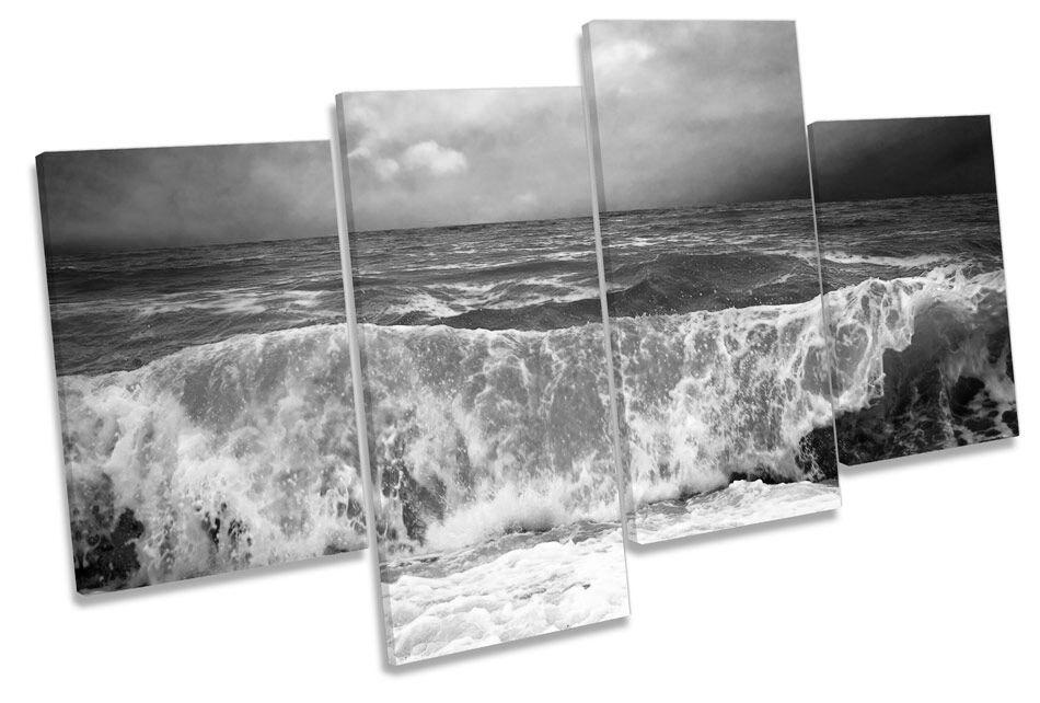 Stormy Beach Wave Seascape B&W CANVAS WALL ART MULTI  Box Framed