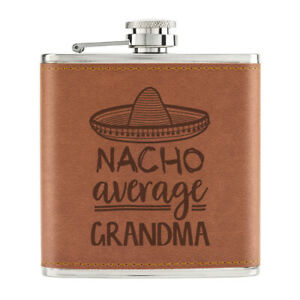 Nacho-Moyenne-Grand-Maman-170ml-Cuir-PU-Hip-Flasque-Brun-Worlds-Best-Nan-Awesome