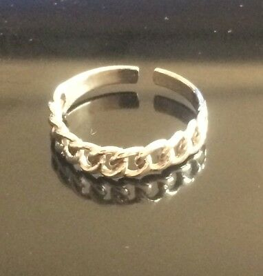 "Jewelry & Watches 925 All Sterling Silver Toe Ring ""chain/curb"" Style $7.49 All Sterling Buy One Give One"