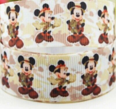 "1/"" 2 YARDS Mickey Mouse Minnie Grosgrain Ribbon Wedding Bows Cards Gift Wrap"