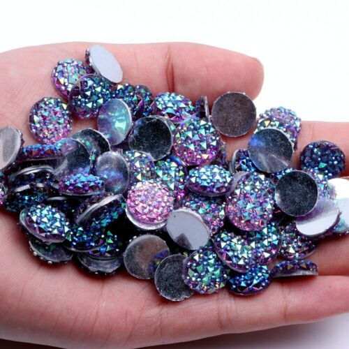 12mm 200pcs AB Colors Round Shape Resin Flatback Rhinestone Wedding Garment