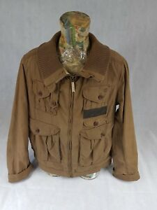 Timberland-Mens-Field-Jacket-Coat-XXL-Brown-Lined-Cowhide-Leather-Trim