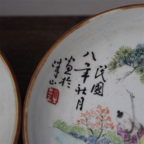 Chinese Old Pair Marked Famille Rose Colored Characters Pattern Porcelain Plates
