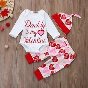 Newborn Infant Baby Girl Letter Romper Tops Pants Hat Valentine S