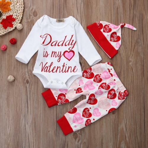 Newborn Infant Baby Girl Letter Romper Tops+Pants+Hat Valentine/'s Day Outfit Set