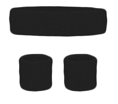 BLACK Sweatbands Wristbands Headband Bright Wrist Bands Fancy Dress 80s 90