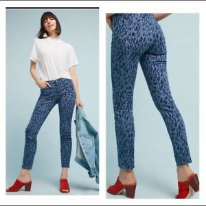 New-Anthropologie-Pilcro-Leopard-Mid-Rise-Skinny-Jeans-Blue-Slim-Sz-26-28
