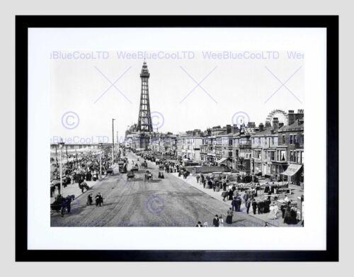 THE PROMENADE BLACKPOOL LANCASHIRE ENGLAND 1898 BW FRAMED ART PRINT B12X1196