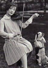 "Postkarte, Hund ""Frau mit Geige"""