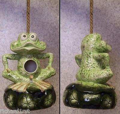 Bird House Ceramic Frog NEW