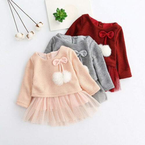New Toddler Baby Kid Girls Long Sleeve Knitted Bow Newborn Tutu Princess Dress