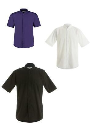 Mens grandad collar Mandarin shirt BLACK Kustom Kit KK160 Casual or uniform