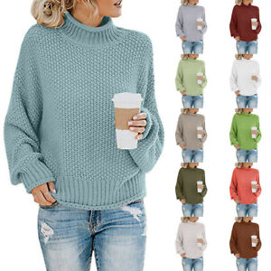 Women-Sweater-Autumn-Winter-Knitted-Turtleneck-Pullover-Warm-Jumper-Top-Knitwear