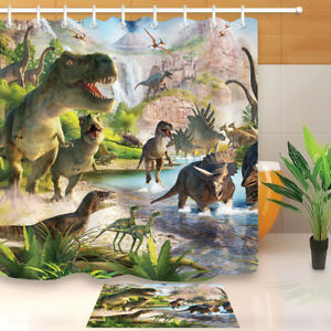 Image Is Loading Dinosaur Fabric Shower Curtain Set Waterproof Bathroom Accessories
