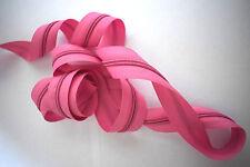 (0,60€/m) 3m Endlos Reißverschluss Meterware 5mm Spirale inkl.6 Zipper Rosa