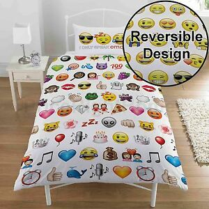 Emoji-Multi-Simple-Housse-de-Couette-et-Taie-D-039-Oreiller-Set-100-Officiel