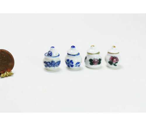 Dollhouse Miniature Covered 4 Piece Canister Set