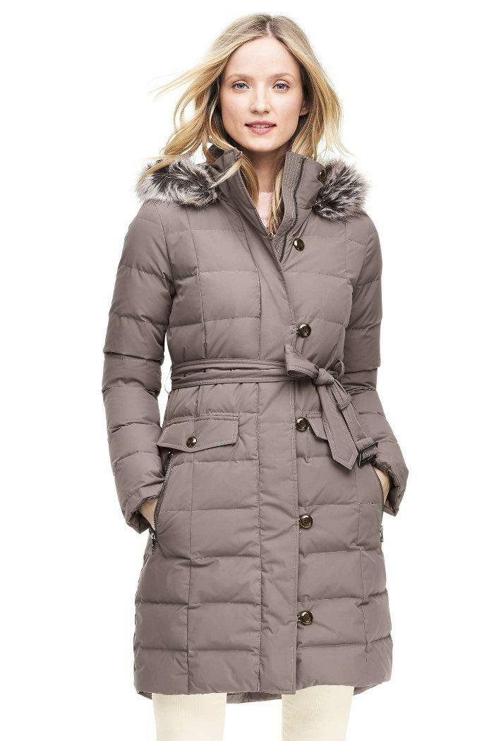 LANDS' END PXL(18) Belted Long HyperDRY™ Down Coat NWT