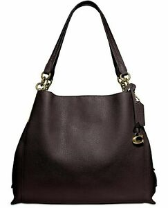 NWT-COACH-73545-Polished-Pebble-Leather-Shoulder-Bag-Oxblood-Gold