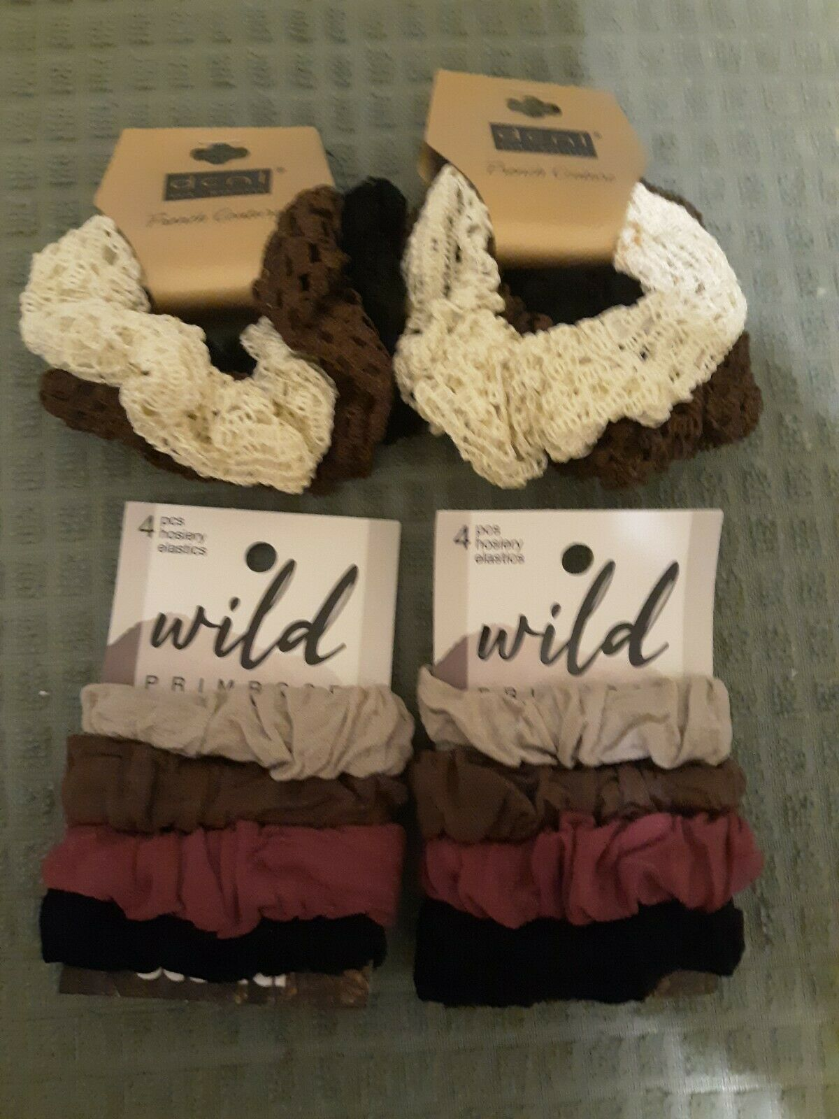 Lot Of 4 Packs Of Scrunchies. Total 14 Scrunchies. Lacy and soft hosiery styles