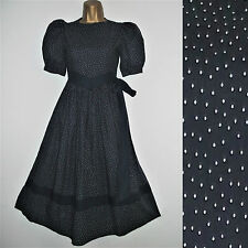 LAURA ASHLEY Vintage Dress Sz 8 9-10yrs Polka Dot Navy Blue White Wedding Tea