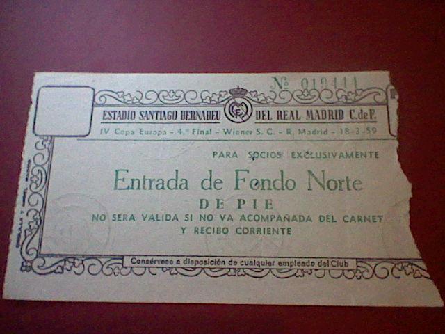 Entrada 1959  IV copa europa CHAMPIONS CUARTOS  REAL MADRID WIENER TICKET
