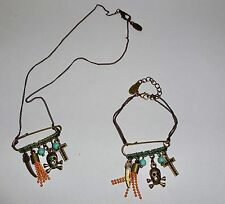 BN H DUBIN Paris BIJOUX Necklace & Bracelet Set w Safety Pin Skull & Drops