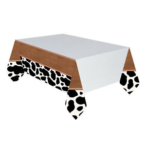 Western Cow Print Plastic Table Cover 137 X 259 Cm Wild West