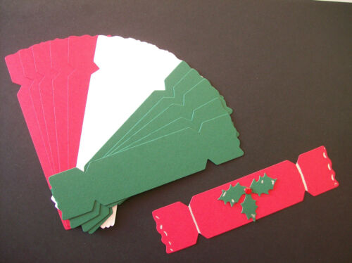 15 x CHRISTMAS CRACKER DIE CUTS red//white//green