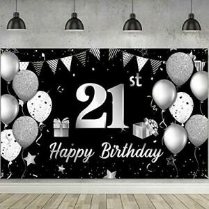 Happy 21st Birthday Backdrop Banner Extra Large Fabric 21st Birthday Sign Poster