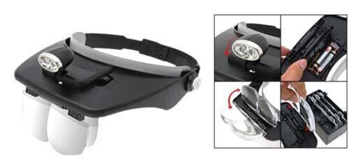4 optiques,d/'horloger Casque loupe de travail reglable,avec une lampe led